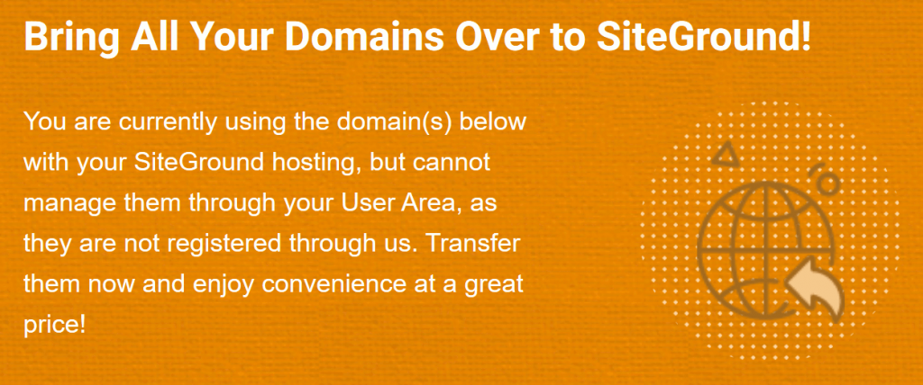 SiteGround Domain Transfer Message